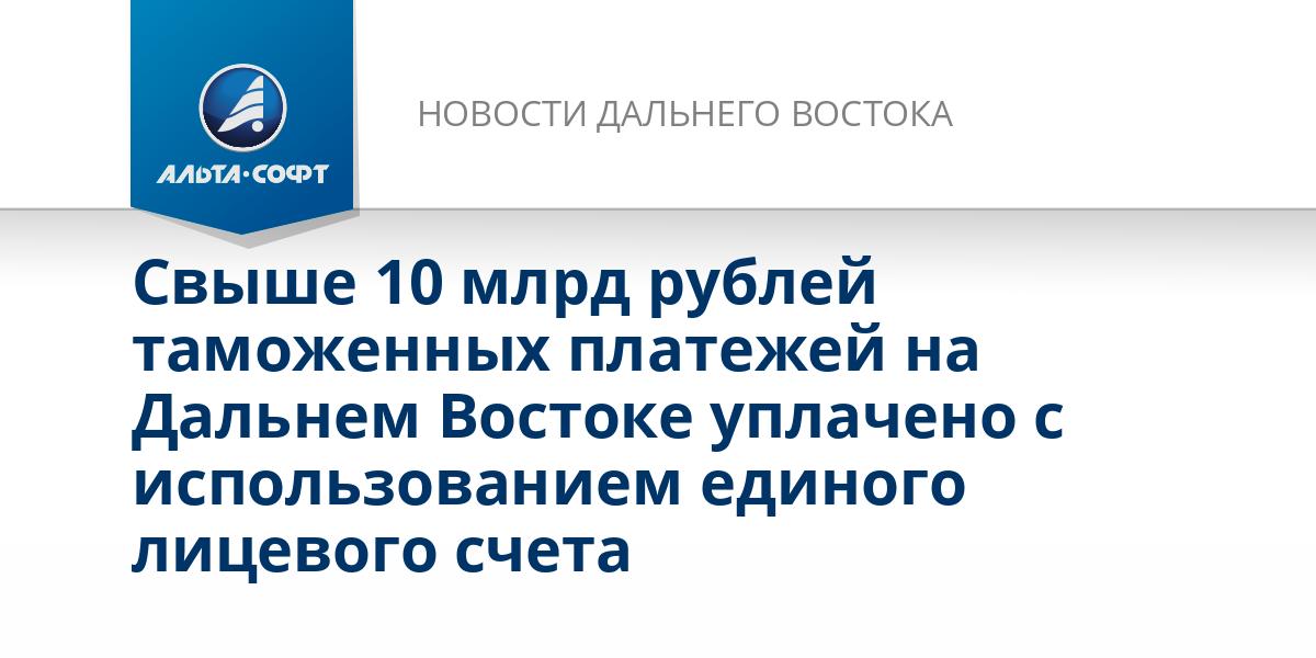 Свыше 10 млрд рублей таможенных платежей на Дальнем Востоке уплачено с использованием единого лицевого счета