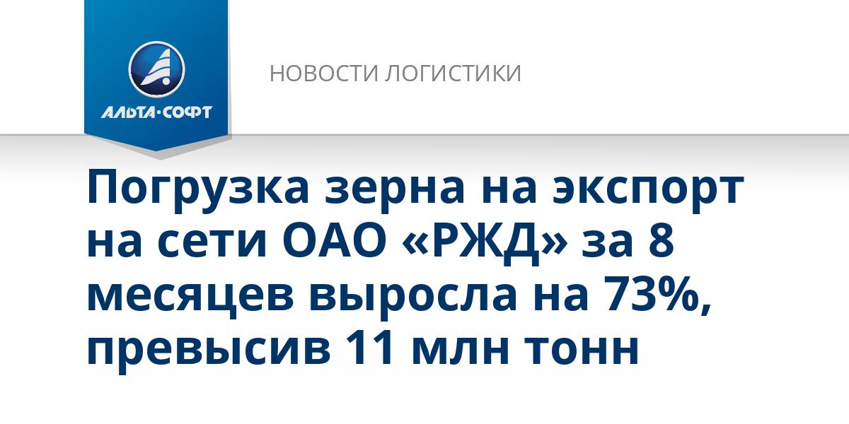 Погрузка зерна на экспорт на сети ОАО «РЖД» за 8 месяцев выросла на 73%, превысив 11 млн тонн
