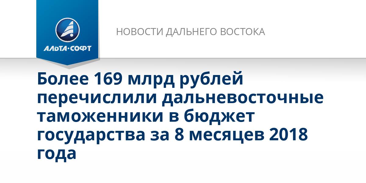 Более 169 млрд рублей перечислили дальневосточные таможенники в бюджет государства за 8 месяцев 2018 года