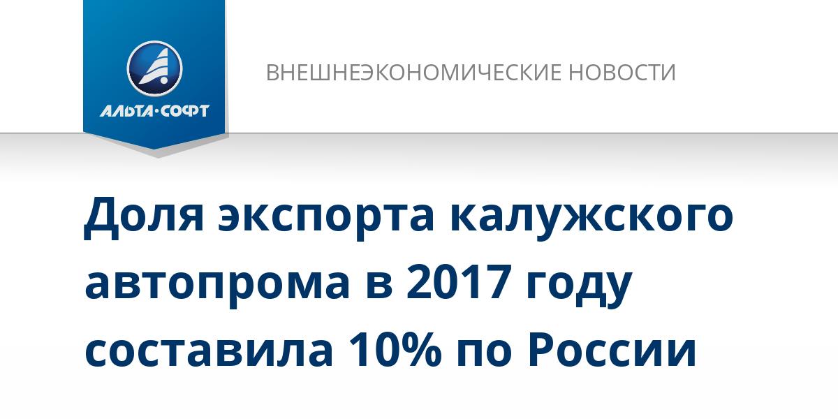 Доля экспорта калужского автопрома в 2017 году составила 10% по России